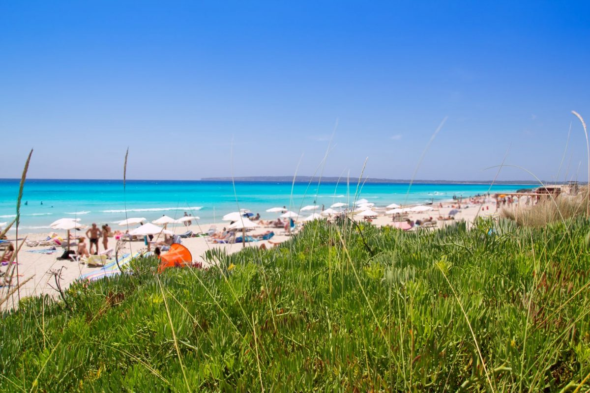 Es Arenals ist ein Strandabschnitt der Playa Migjorn im Südosten Formenteras. Es ist ein schöner, flach abfallender Sandstrand mit vielen Muscheln.